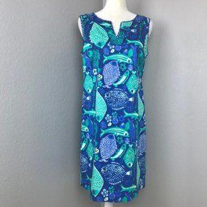 Talbots Blue Green Fish Print Sheath Dress